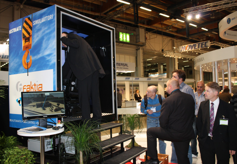 Simulator use for sales and marketing at exhibition