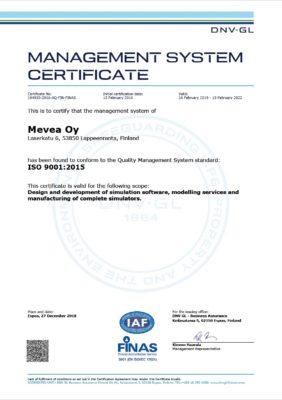 Mevea ISO9001 certificate