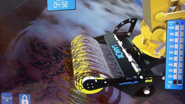 Digital twin skimming virtual oil out of the water
